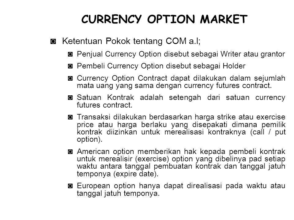 ◙Ketentuan Pokok tentang COM a.l; ◙Penjual Currency Option disebut sebagai Writer atau grantor ◙Pembeli Currency Option disebut sebagai Holder ◙Currency Option Contract dapat dilakukan dalam sejumlah mata uang yang sama dengan currency futures contract.