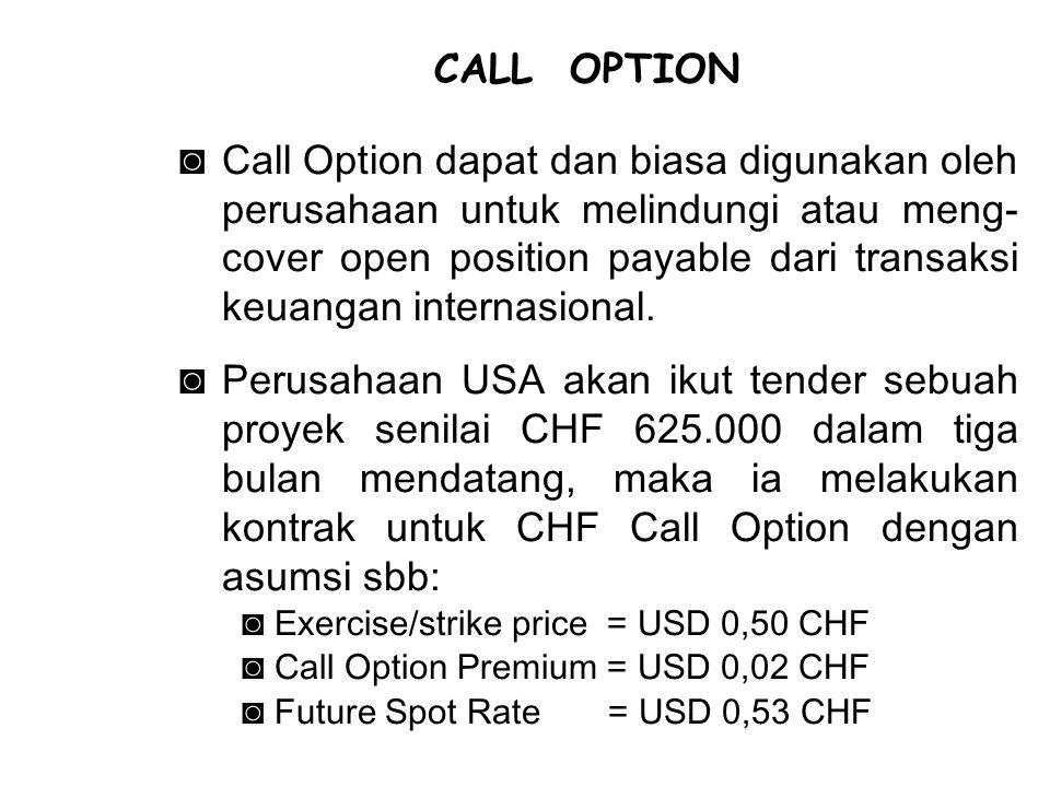 ◙Call Option dapat dan biasa digunakan oleh perusahaan untuk melindungi atau meng- cover open position payable dari transaksi keuangan internasional.