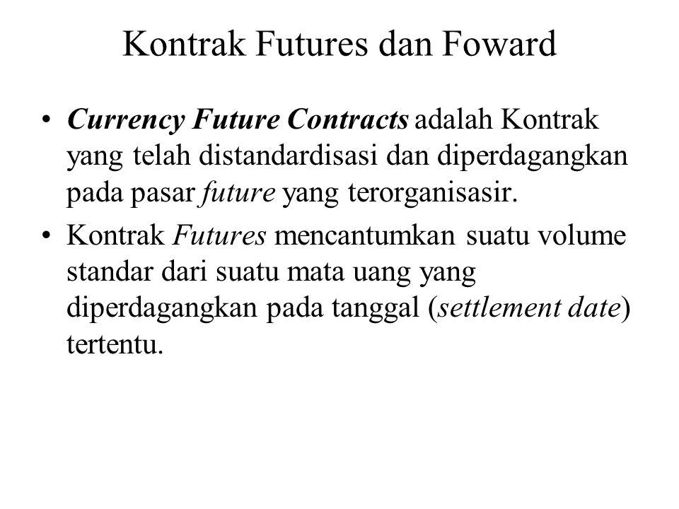 Kontrak Futures dan Foward •Currency Future Contracts adalah Kontrak yang telah distandardisasi dan diperdagangkan pada pasar future yang terorganisas