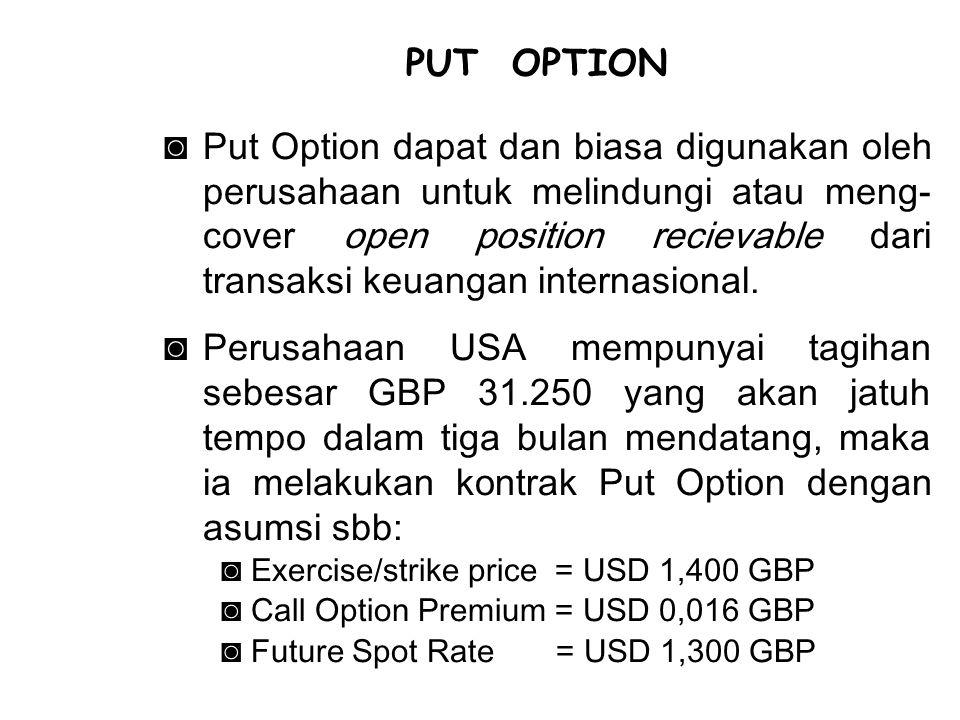 ◙Put Option dapat dan biasa digunakan oleh perusahaan untuk melindungi atau meng- cover open position recievable dari transaksi keuangan internasional.