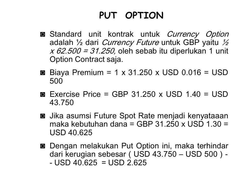 ◙Standard unit kontrak untuk Currency Option adalah ½ dari Currency Future untuk GBP yaitu ½ x 62.500 = 31.250, oleh sebab itu diperlukan 1 unit Optio