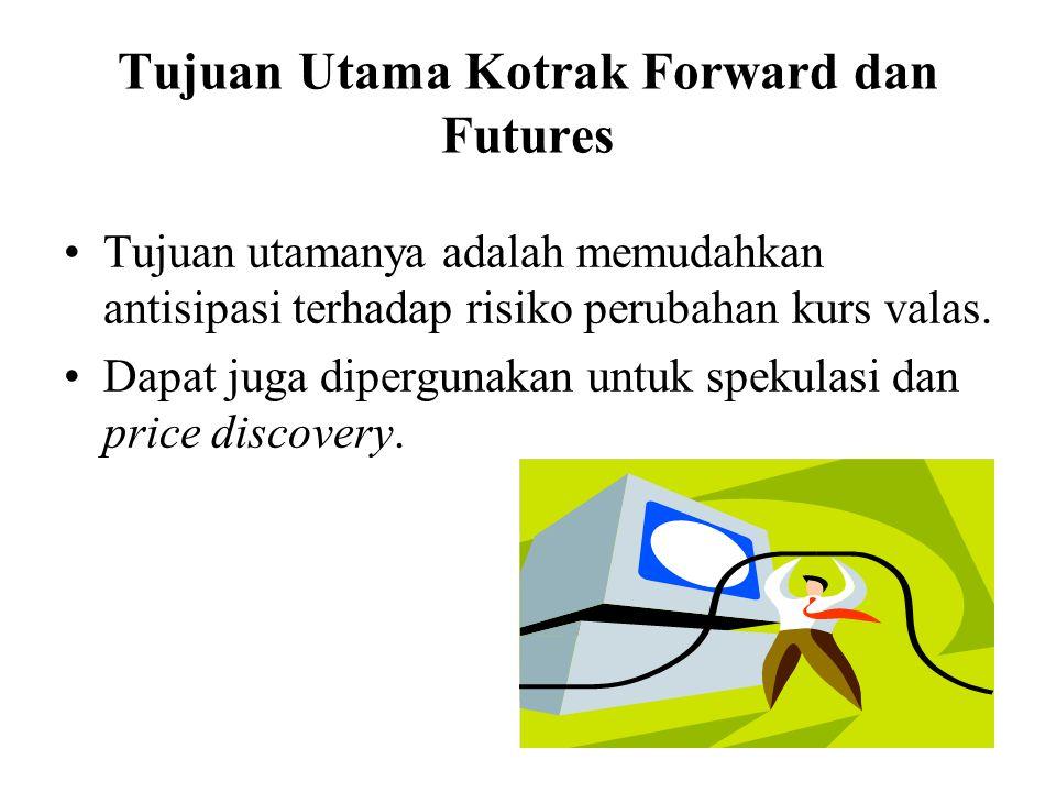 Tujuan Utama Kotrak Forward dan Futures •Tujuan utamanya adalah memudahkan antisipasi terhadap risiko perubahan kurs valas. •Dapat juga dipergunakan u