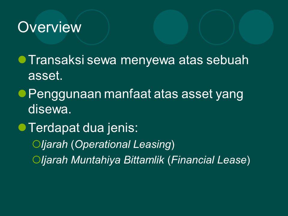 Overview  Transaksi sewa menyewa atas sebuah asset.  Penggunaan manfaat atas asset yang disewa.  Terdapat dua jenis:  Ijarah (Operational Leasing)