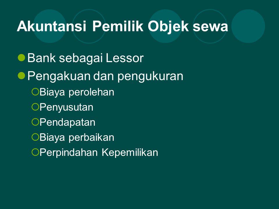 Akuntansi Penyewa  Bank sebagai Lessee (Musta'jir)  Pengakuan dan Pengukuran:  Beban  Perpindahan Kepemilikan