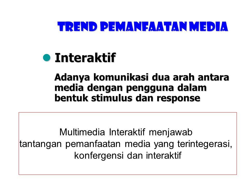  Konfergensi Trend Pemanfaatan media Penggabungan berbagai tipe media – teks, foto, grafik, suara, video, dan animasi – kedalam satu buah media terte