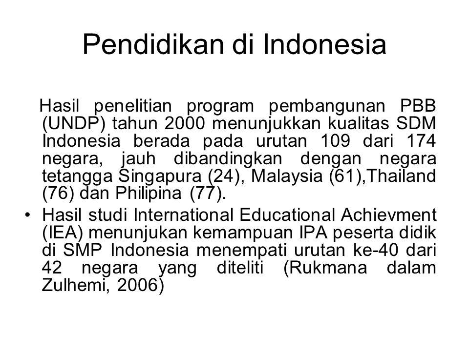 Pendidikan di Indonesia Hasil penelitian program pembangunan PBB (UNDP) tahun 2000 menunjukkan kualitas SDM Indonesia berada pada urutan 109 dari 174 negara, jauh dibandingkan dengan negara tetangga Singapura (24), Malaysia (61),Thailand (76) dan Philipina (77).