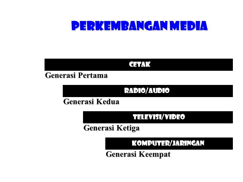 Perkembangan Media Cetak Radio/audio Televisi/Video KOMPUTER/JARINGAN Generasi Pertama Generasi Kedua Generasi Ketiga Generasi Keempat