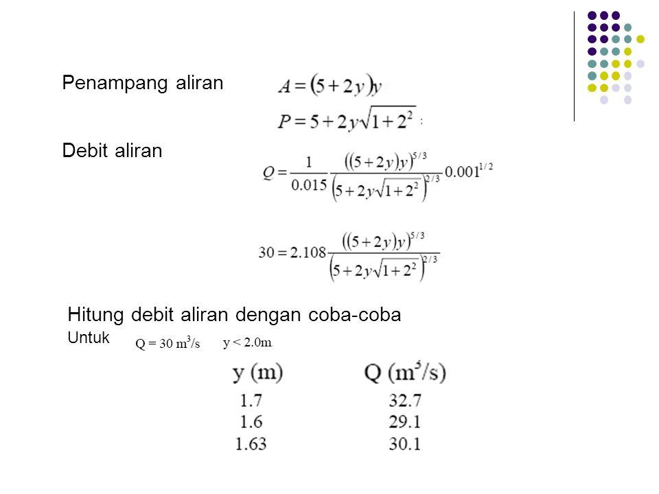 Hitung debit aliran dengan coba-coba Penampang aliran Debit aliran Untuk