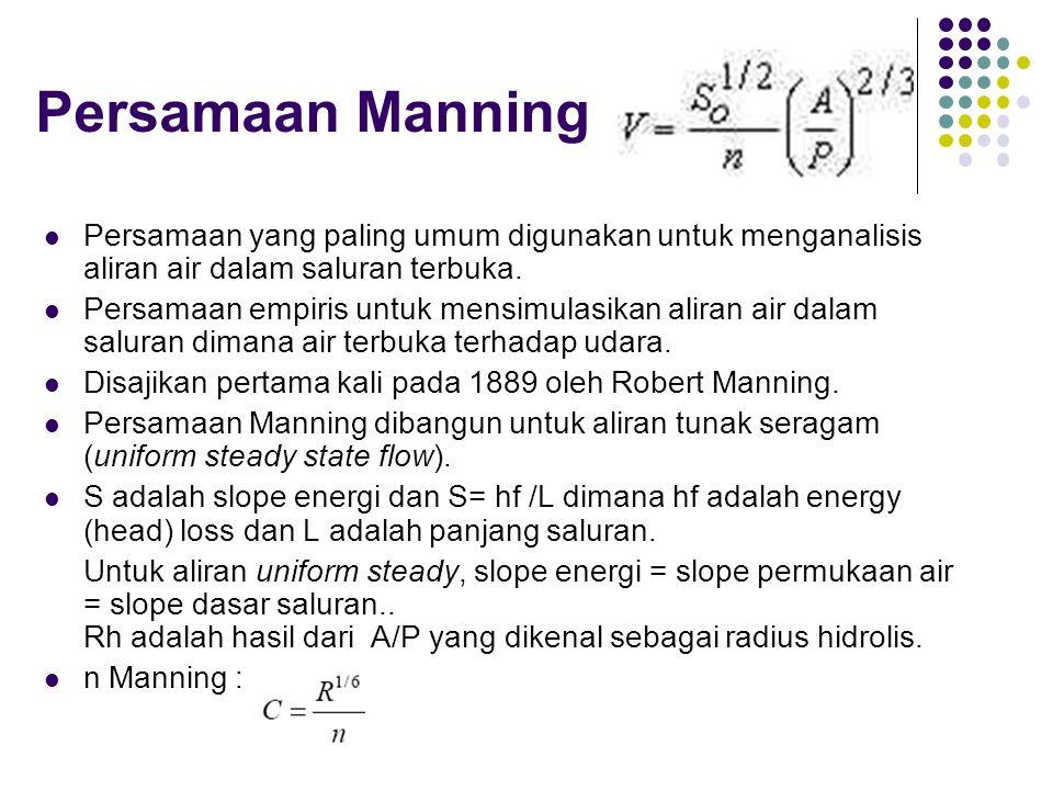 Persamaan Manning  Persamaan yang paling umum digunakan untuk menganalisis aliran air dalam saluran terbuka.  Persamaan empiris untuk mensimulasikan