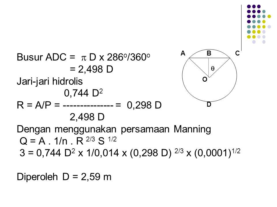 Busur ADC =  D x 286 o /360 o = 2,498 D Jari-jari hidrolis 0,744 D 2 R = A/P = --------------- = 0,298 D 2,498 D Dengan menggunakan persamaan Manning