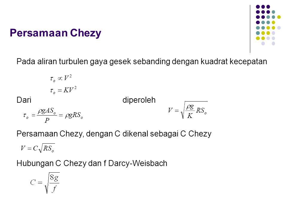 Persamaan Chezy Pada aliran turbulen gaya gesek sebanding dengan kuadrat kecepatan Daridiperoleh Persamaan Chezy, dengan C dikenal sebagai C Chezy Hub