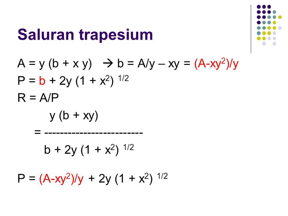 Saluran trapesium A = y (b + x y)  b = A/y – xy = (A-xy 2 )/y P = b + 2y (1 + x 2 ) 1/2 R = A/P y (b + xy) = ------------------------- b + 2y (1 + x
