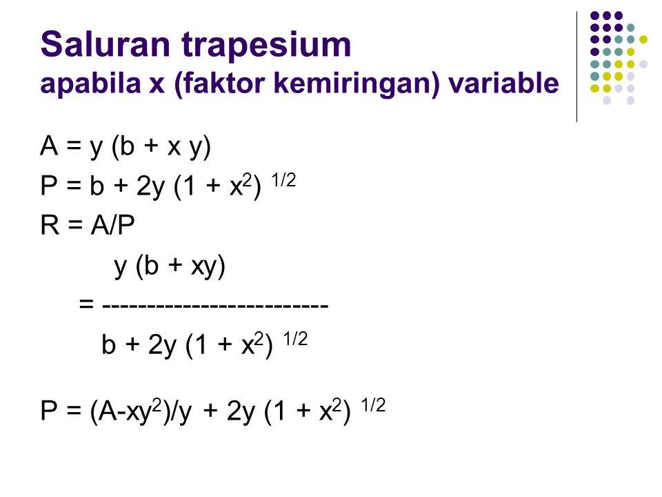 Saluran trapesium apabila x (faktor kemiringan) variable A = y (b + x y) P = b + 2y (1 + x 2 ) 1/2 R = A/P y (b + xy) = ------------------------- b +