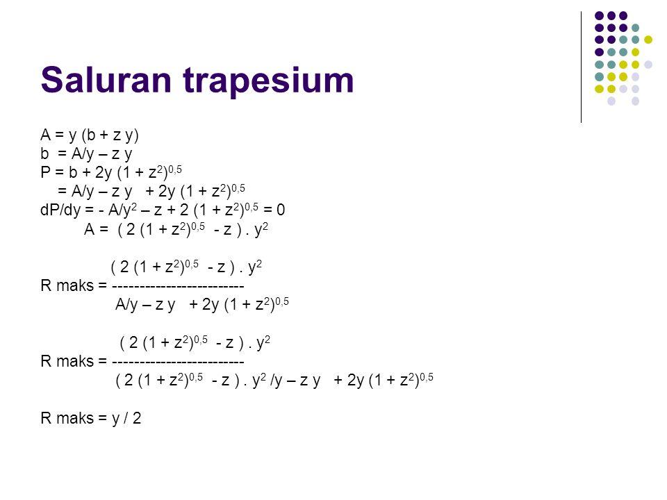 Saluran trapesium A = y (b + z y) b = A/y – z y P = b + 2y (1 + z 2 ) 0,5 = A/y – z y + 2y (1 + z 2 ) 0,5 dP/dy = - A/y 2 – z + 2 (1 + z 2 ) 0,5 = 0 A