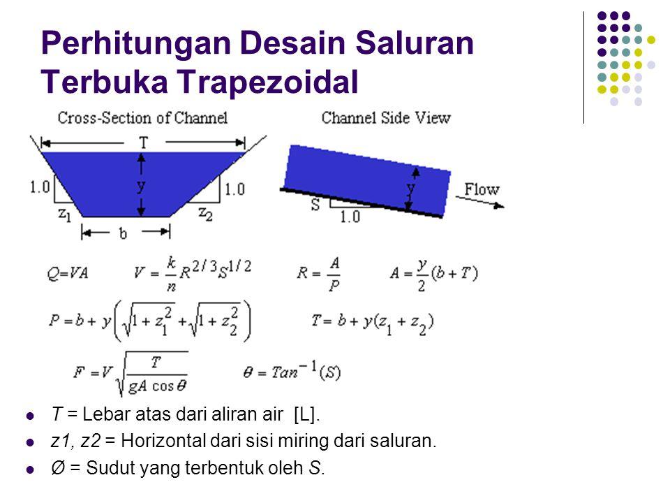 Perhitungan Desain Saluran Terbuka Trapezoidal  T = Lebar atas dari aliran air [L].  z1, z2 = Horizontal dari sisi miring dari saluran.  Ø = Sudut