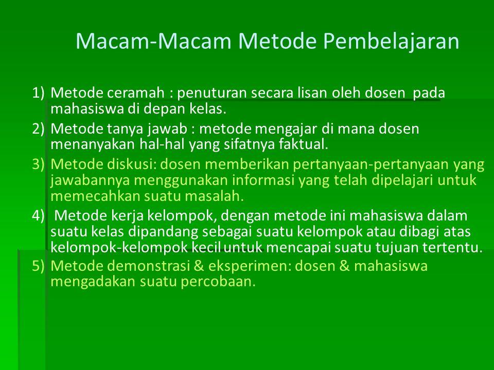 Macam-Macam Metode Pembelajaran 1)Metode ceramah : penuturan secara lisan oleh dosen pada mahasiswa di depan kelas. 2)Metode tanya jawab : metode meng