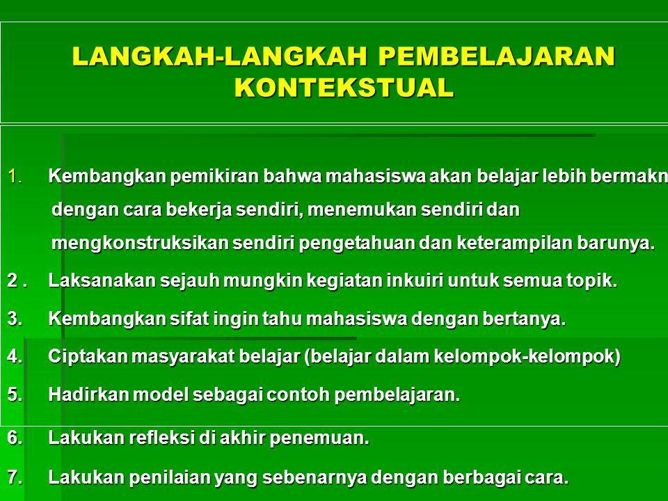 LANGKAH-LANGKAH PEMBELAJARAN KONTEKSTUAL 1.