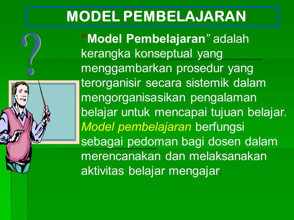 """Model Pembelajaran"" adalah kerangka konseptual yang menggambarkan prosedur yang terorganisir secara sistemik dalam mengorganisasikan pengalaman belaj"
