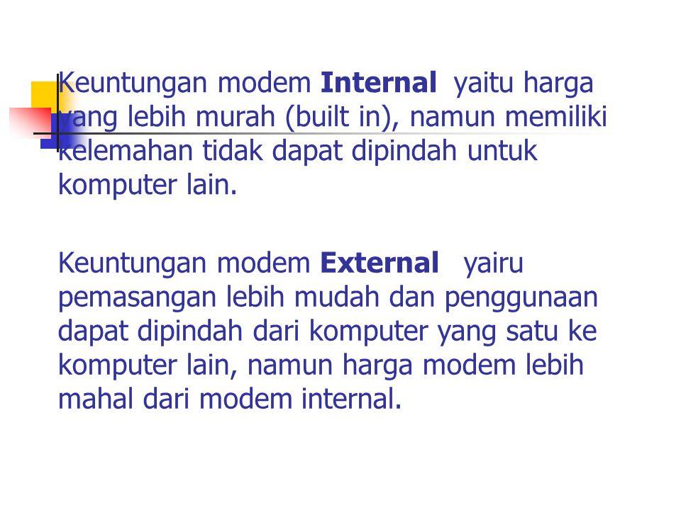 Keuntungan modem Internal yaitu harga yang lebih murah (built in), namun memiliki kelemahan tidak dapat dipindah untuk komputer lain. Keuntungan modem