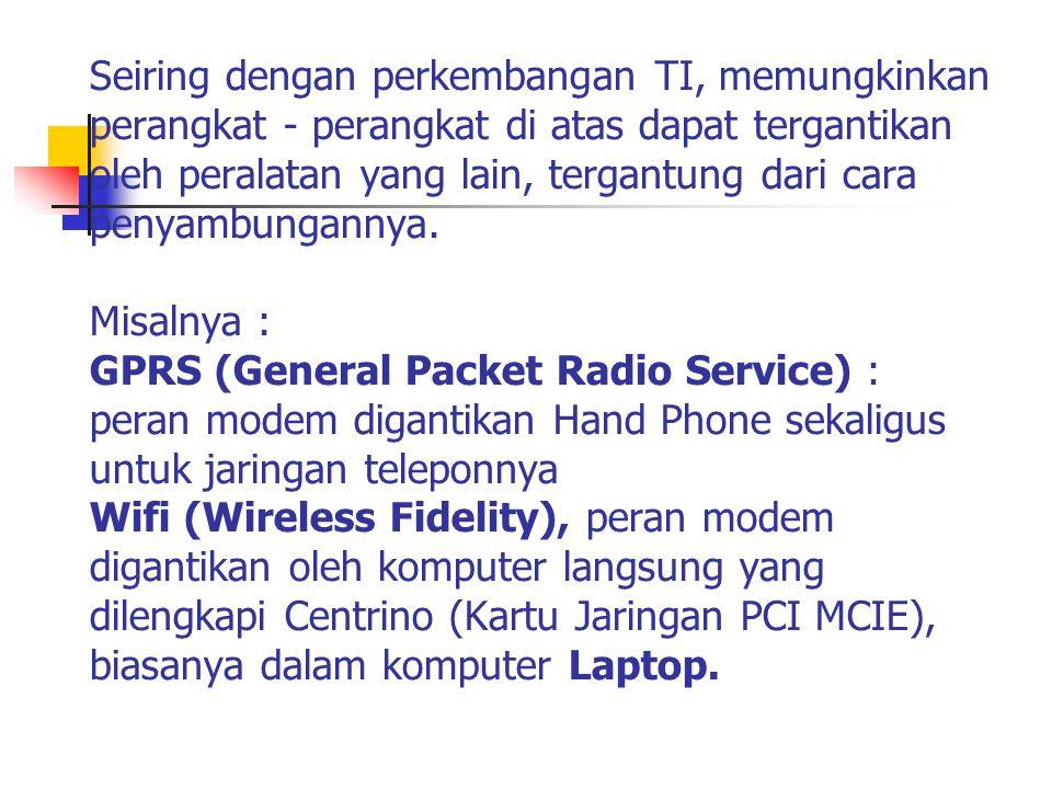 1.Melalui jaringan 2.Melalui saluran Tilpon Langsung (Dial UP) 3.Menggunakan jaringan GPRS (General Packet Radio Service) 4.Melalui WiFi (Wireless Fidelity) 5.Menggunakan Jaringan TV Kabel 6.Menggunakan Wireless Broadband Berbagai cara Menghubungkan Komputer ke Internet