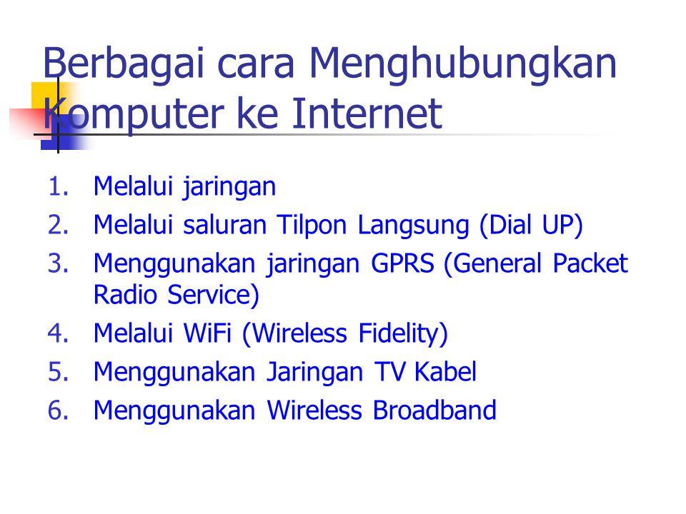 1.Melalui jaringan 2.Melalui saluran Tilpon Langsung (Dial UP) 3.Menggunakan jaringan GPRS (General Packet Radio Service) 4.Melalui WiFi (Wireless Fid