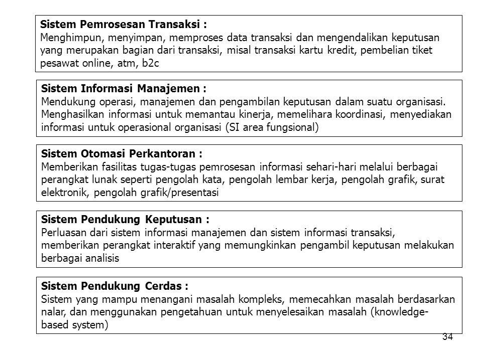 34 Sistem Pemrosesan Transaksi : Menghimpun, menyimpan, memproses data transaksi dan mengendalikan keputusan yang merupakan bagian dari transaksi, mis