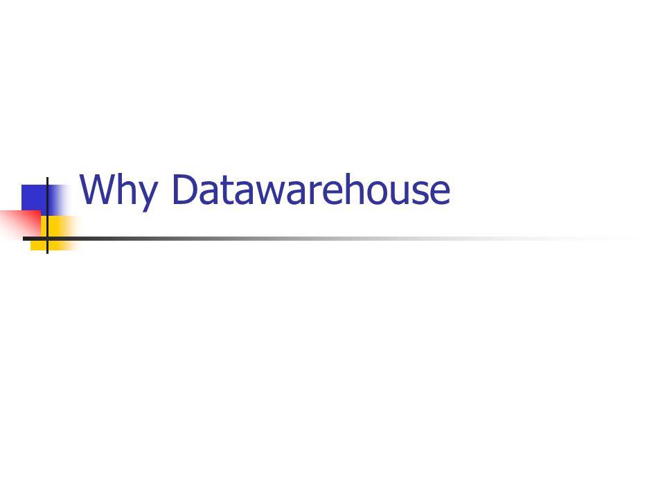 Purpose of DW  Providing the strategic information every enterprise needs desperately.