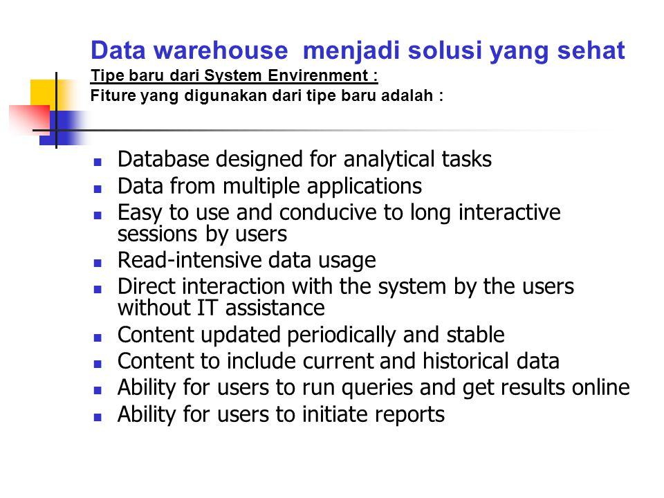 Data warehouse menjadi solusi yang sehat Tipe baru dari System Envirenment : Fiture yang digunakan dari tipe baru adalah :  Database designed for ana