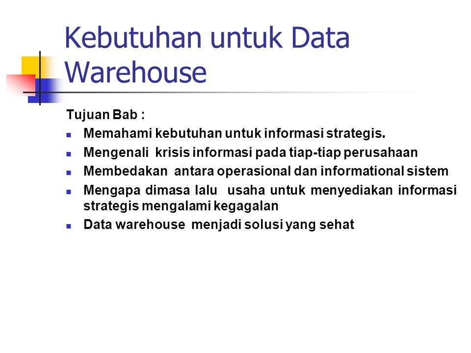 Kebutuhan untuk Data Warehouse Tujuan Bab :  Memahami kebutuhan untuk informasi strategis.  Mengenali krisis informasi pada tiap-tiap perusahaan  M