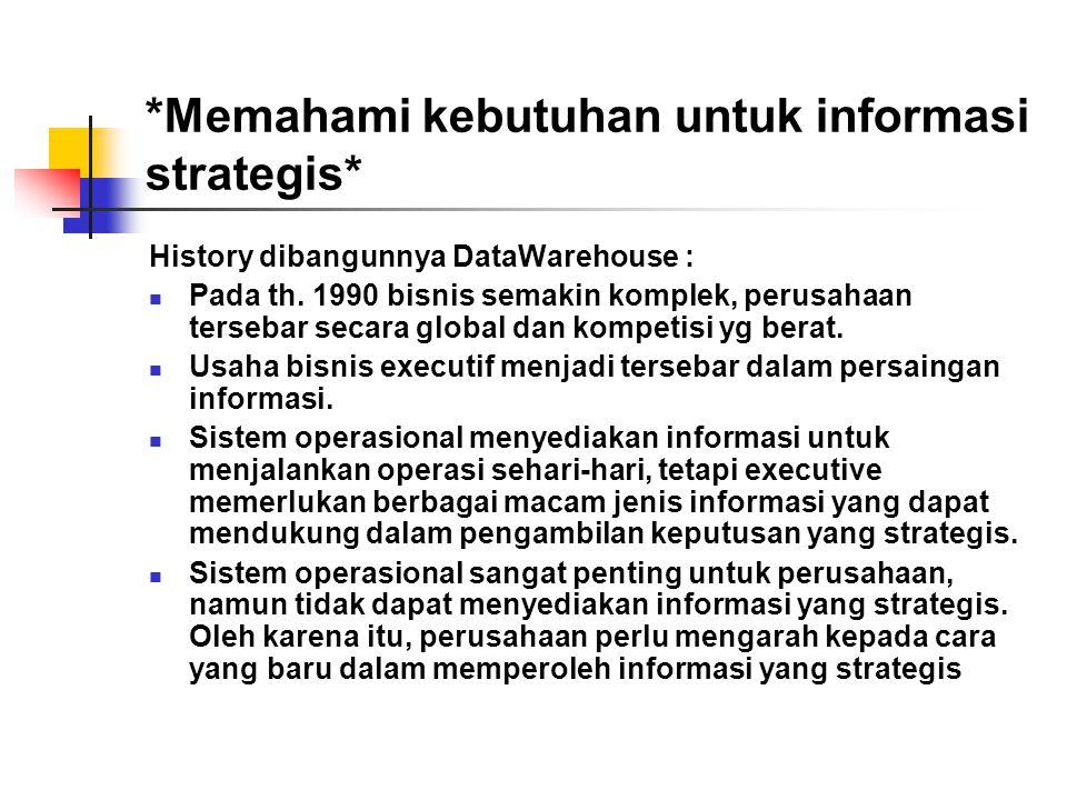 *Memahami kebutuhan untuk informasi strategis* History dibangunnya DataWarehouse :  Pada th. 1990 bisnis semakin komplek, perusahaan tersebar secara
