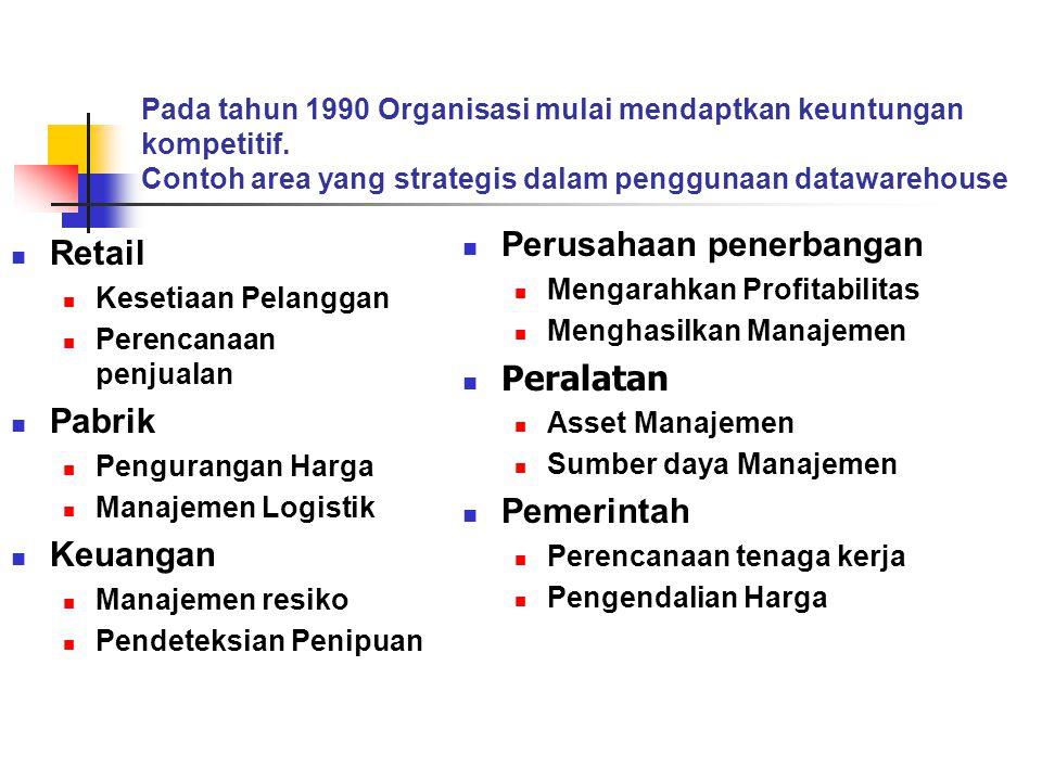 Pada tahun 1990 Organisasi mulai mendaptkan keuntungan kompetitif. Contoh area yang strategis dalam penggunaan datawarehouse  Retail  Kesetiaan Pela