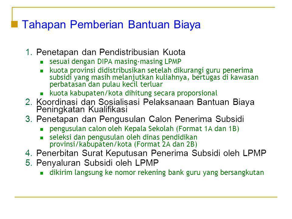  Tahapan Pemberian Bantuan Biaya 1.Penetapan dan Pendistribusian Kuota  sesuai dengan DIPA masing-masing LPMP  kuota provinsi didistribusikan setel