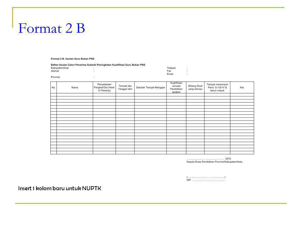 Format 2 B Insert 1 kolom baru untuk NUPTK