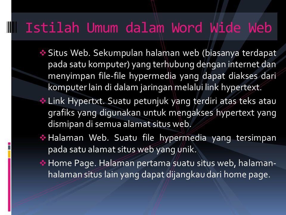  Situs Web. Sekumpulan halaman web (biasanya terdapat pada satu komputer) yang terhubung dengan internet dan menyimpan file-file hypermedia yang dapa