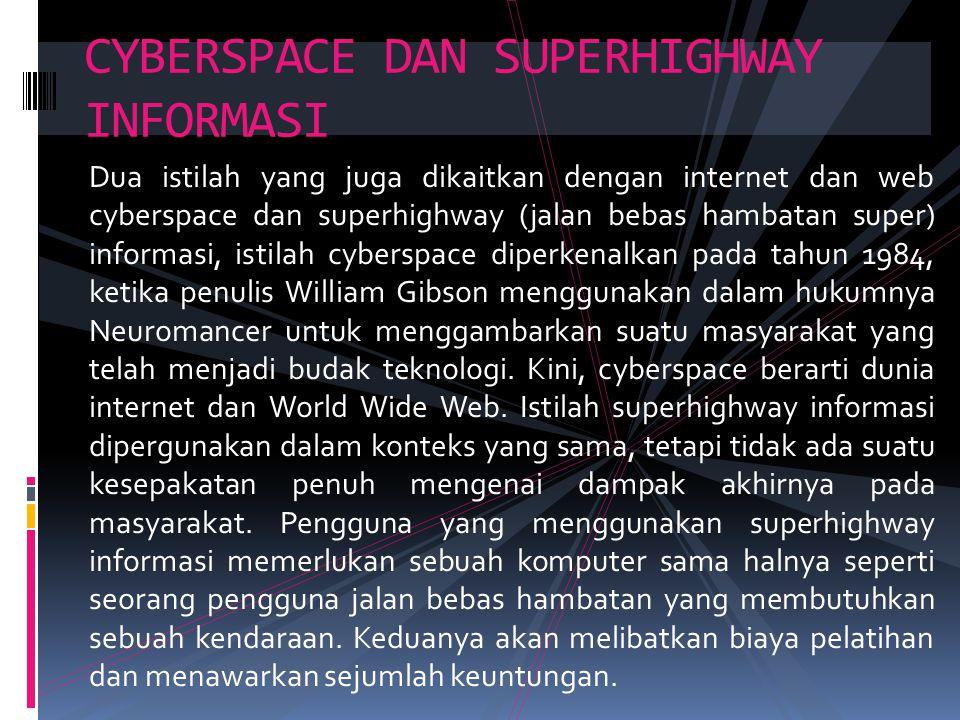Dua istilah yang juga dikaitkan dengan internet dan web cyberspace dan superhighway (jalan bebas hambatan super) informasi, istilah cyberspace diperke