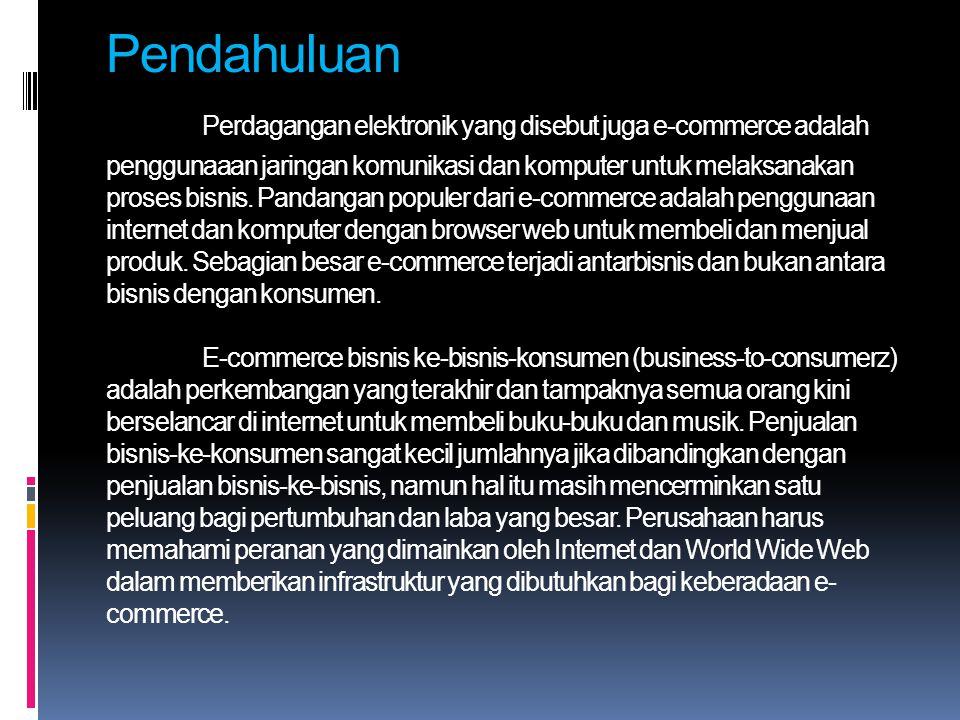 Pendahuluan Perdagangan elektronik yang disebut juga e-commerce adalah penggunaaan jaringan komunikasi dan komputer untuk melaksanakan proses bisnis.