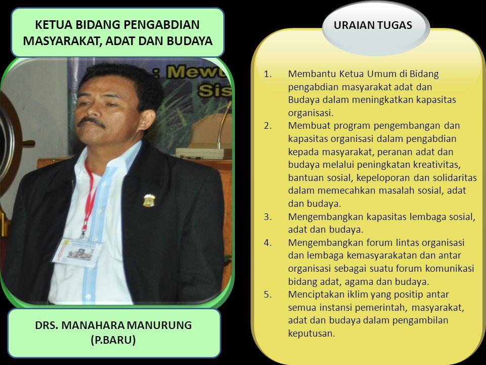 1.Membantu Ketua Umum di Bidang pengabdian masyarakat adat dan Budaya dalam meningkatkan kapasitas organisasi. 2.Membuat program pengembangan dan kapa