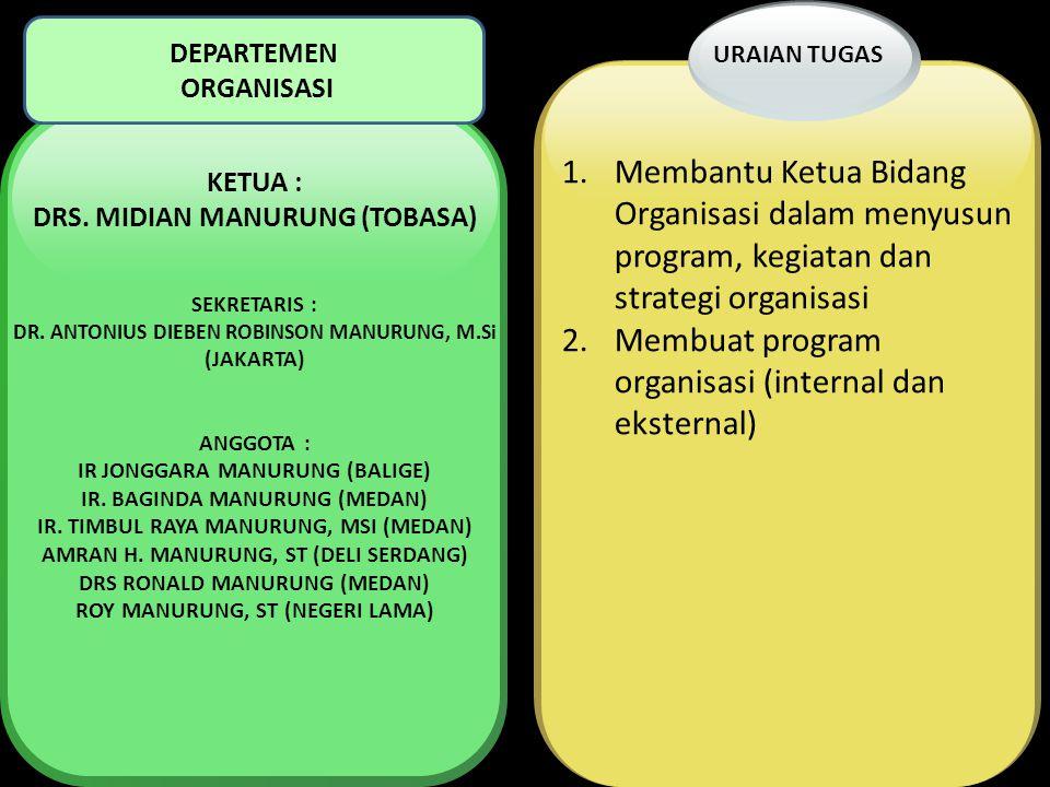 1.Membantu Ketua Bidang Organisasi dalam menyusun program, kegiatan dan strategi organisasi 2.Membuat program organisasi (internal dan eksternal) URAI