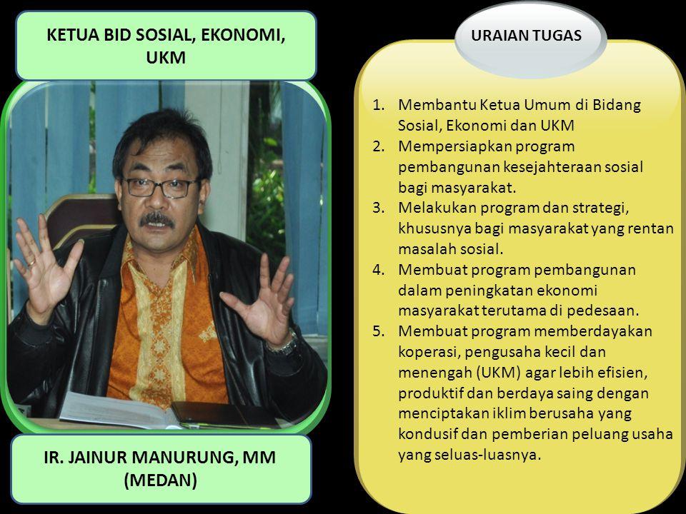 1.Membantu Ketua Umum di Bidang Sosial, Ekonomi dan UKM 2.Mempersiapkan program pembangunan kesejahteraan sosial bagi masyarakat. 3.Melakukan program