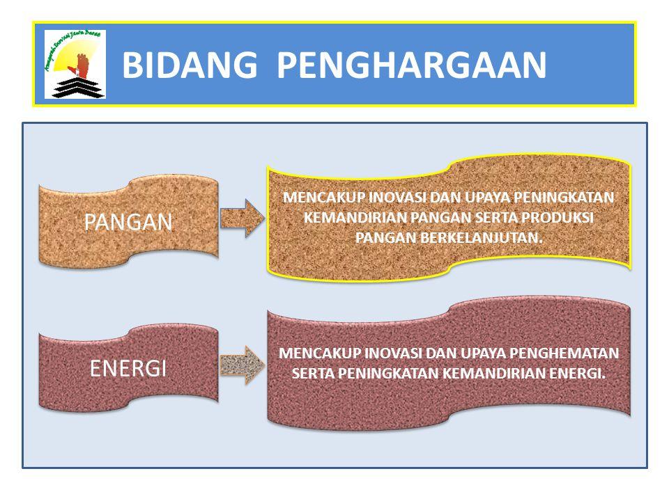 ENERGI PANGAN MENCAKUP INOVASI DAN UPAYA PENINGKATAN KEMANDIRIAN PANGAN SERTA PRODUKSI PANGAN BERKELANJUTAN.