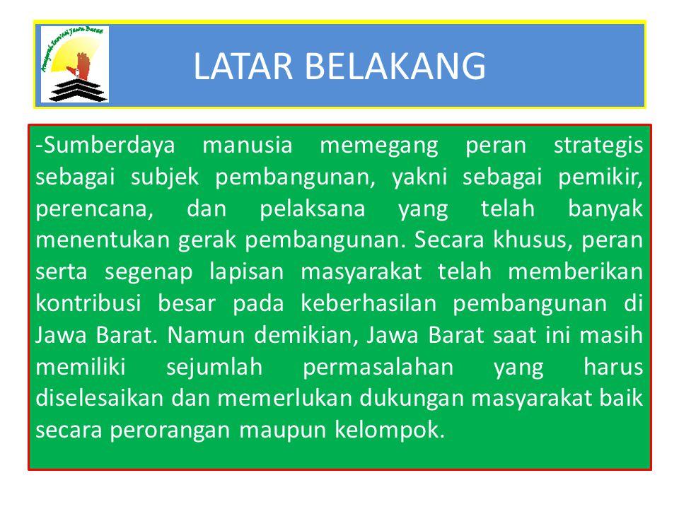 Untuk memacu kemajuan di berbagai bidang, Pemerintah Provinsi Jawa Barat perlu memberikan penghargaan kepada mereka yang menghasilkan karya inovatif dan /atau melakukan upaya luar biasa yang nyata dan bermanfaat bagi kehidupan masyarakat Jawa Barat, serta telah mengharumkan nama Provinsi Jawa Barat baik di tingkat nasional maupun internasional.