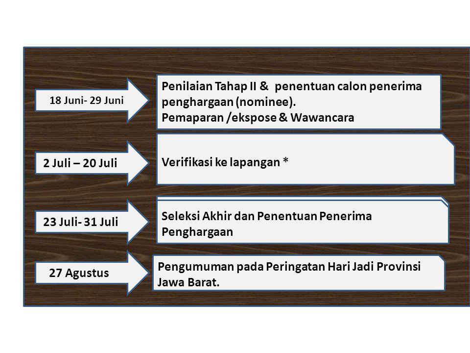 18 Juni- 29 Juni Penilaian Tahap II & penentuan calon penerima penghargaan (nominee).