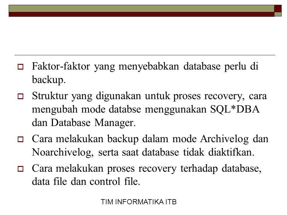 TIM INFORMATIKA ITB Backup dalam Mode ARCHIVELOG