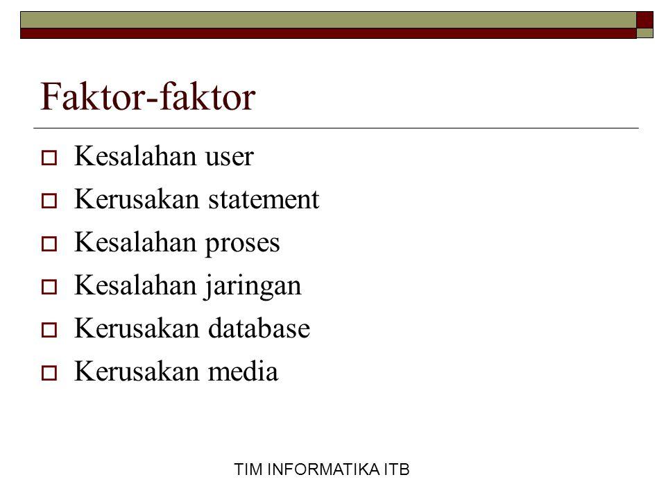 TIM INFORMATIKA ITB  Database Status, mengidentifikasikan status database.