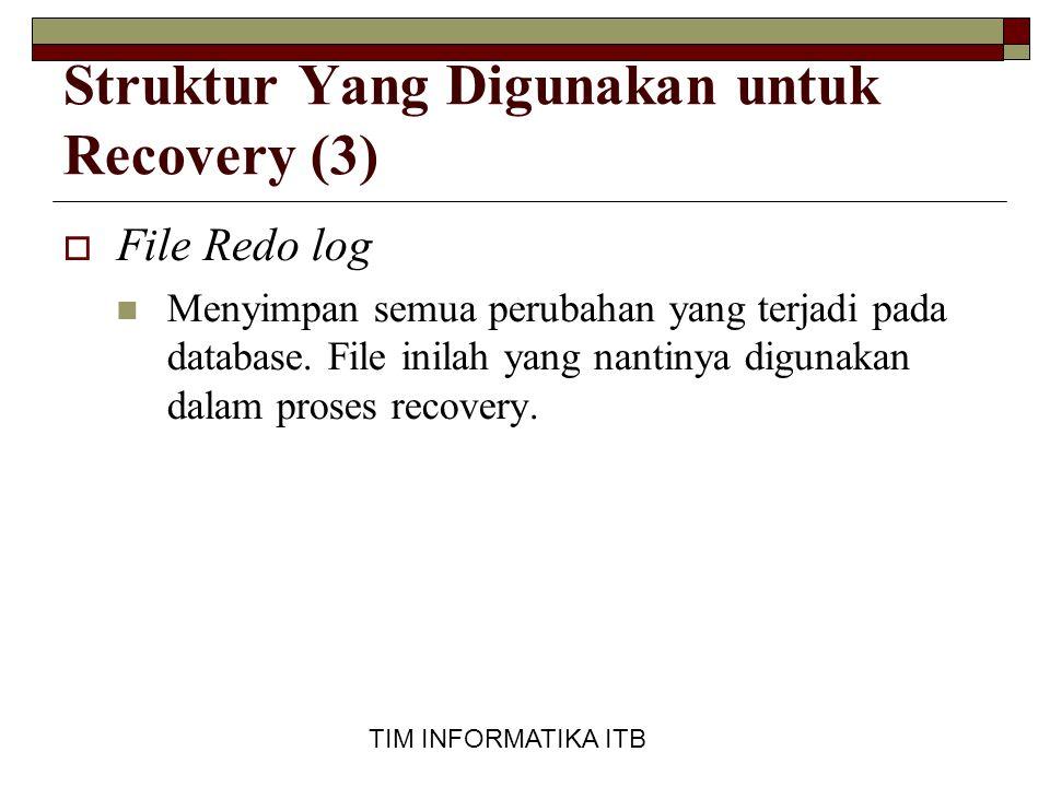TIM INFORMATIKA ITB Struktur Yang Digunakan untuk Recovery (3)  File Redo log  Menyimpan semua perubahan yang terjadi pada database. File inilah yan