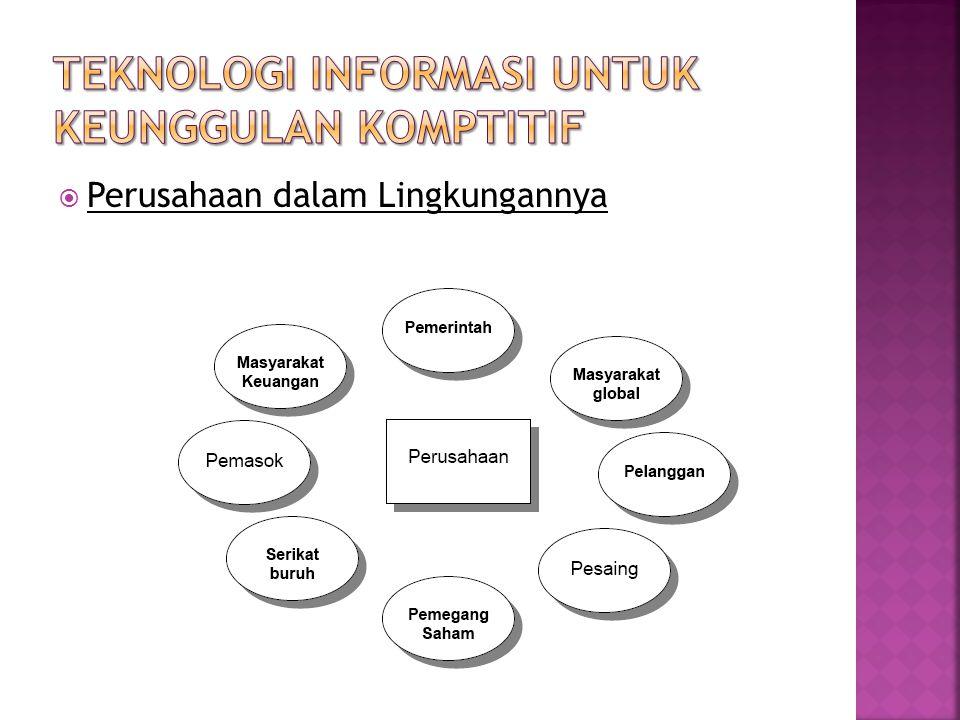  Keunggulan kompetitif pada Perusahaan  Konsep pencapaian Keunggulan Kompetitif  Memandang Sumber Daya Konseptual (Informasi) sebagai standar Keunggulan Kompetitif  Jenis sumber daya Informasi 1.