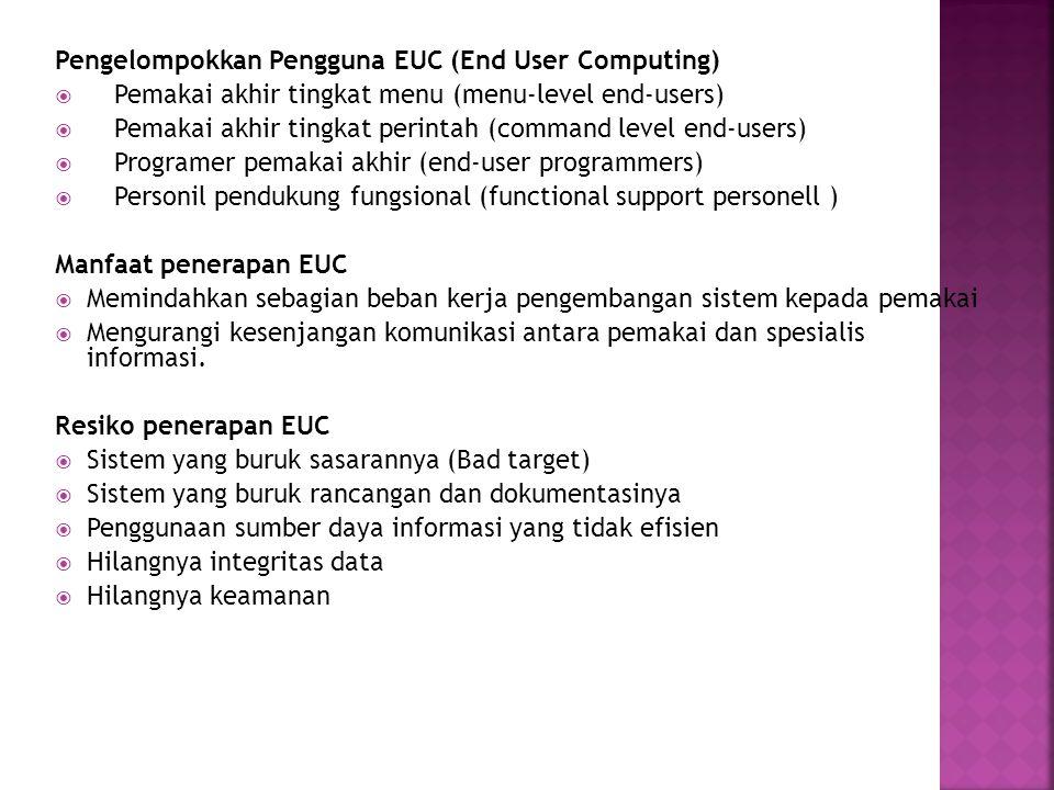 Pengelompokkan Pengguna EUC (End User Computing)  Pemakai akhir tingkat menu (menu-level end-users)  Pemakai akhir tingkat perintah (command level e