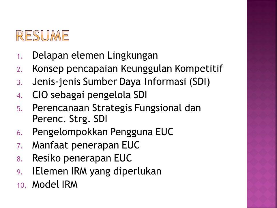 1. Delapan elemen Lingkungan 2. Konsep pencapaian Keunggulan Kompetitif 3. Jenis-jenis Sumber Daya Informasi (SDI) 4. CIO sebagai pengelola SDI 5. Per