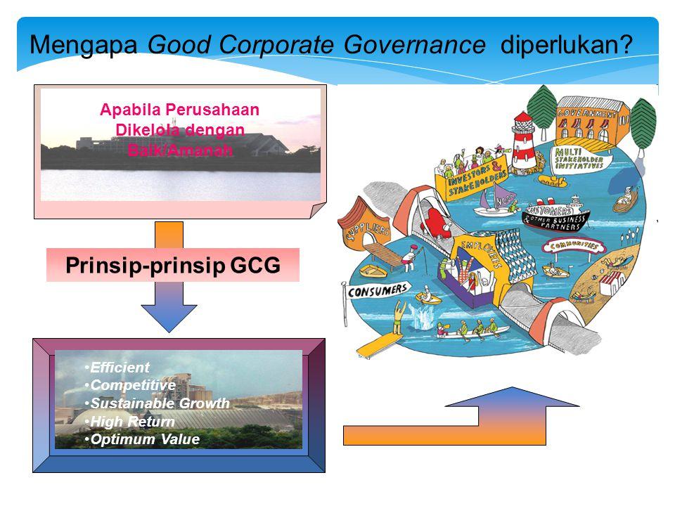 Mengapa Good Corporate Governance diperlukan? Apabila Perusahaan Dikelola dengan Baik/Amanah •Efficient •Competitive •Sustainable Growth •High Return