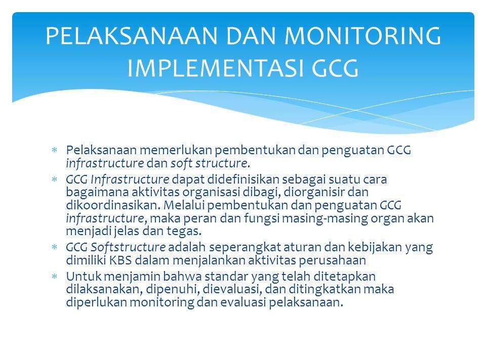  Pelaksanaan memerlukan pembentukan dan penguatan GCG infrastructure dan soft structure.  GCG Infrastructure dapat didefinisikan sebagai suatu cara